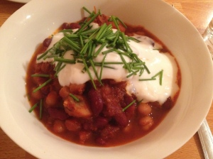 Vegetarian chili with homemade goat yogurt